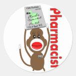 Diseño del mono del calcetín del farmacéutico---Re Pegatina