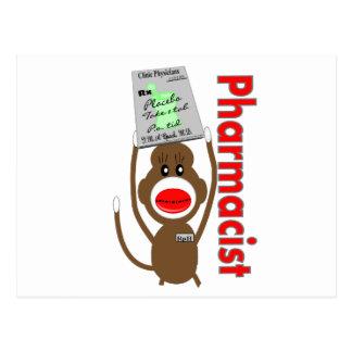Diseño del mono del calcetín del farmacéutico---Re Postal