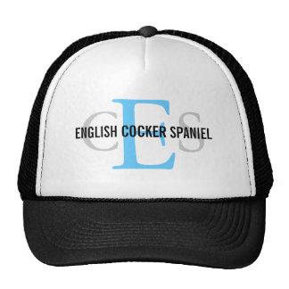 Diseño del monograma de cocker spaniel del inglés gorro de camionero