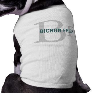 Diseño del monograma de la raza de Bichon Frise Playera Sin Mangas Para Perro