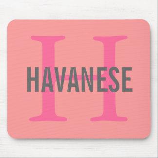 Diseño del monograma de la raza de Havanese Tapete De Ratón