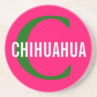 Diseño del monograma de la raza de la chihuahua posavasos diseño