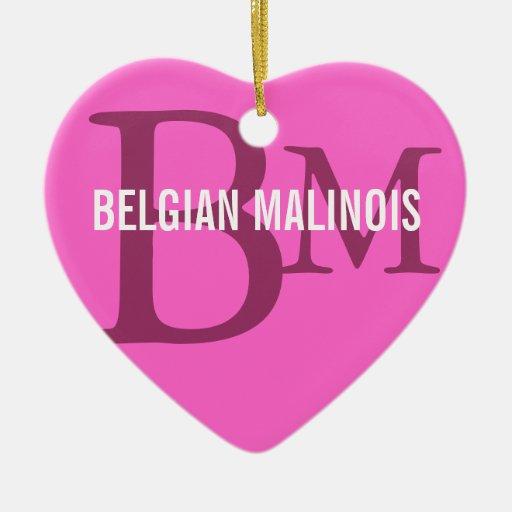 Diseño del monograma de la raza de Malinois del Adorno Navideño De Cerámica En Forma De Corazón