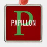 Diseño del monograma de la raza de Papillon Ornamento De Navidad