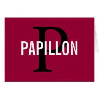 Diseño del monograma de la raza de Papillon Tarjeton