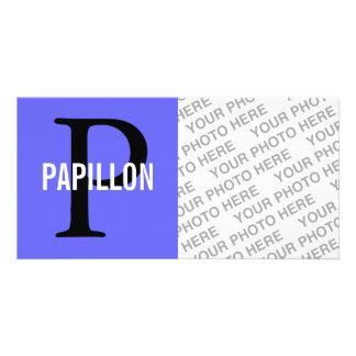 Diseño del monograma de la raza de Papillon Tarjetas Personales Con Fotos