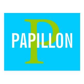 Diseño del monograma de la raza de Papillon Postal