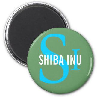 Diseño del monograma de la raza de Shiba Inu Imán Redondo 5 Cm