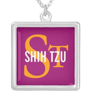 Diseño del monograma de la raza de Shih Tzu Colgante Cuadrado