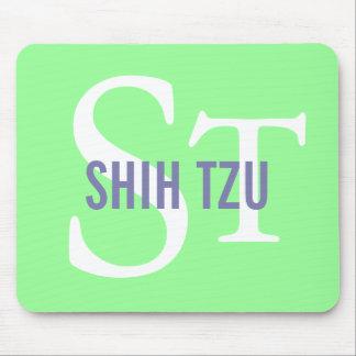Diseño del monograma de la raza de Shih Tzu Tapete De Ratones