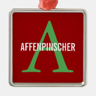 Diseño del monograma de la raza del Affenpinscher Adorno Cuadrado Plateado
