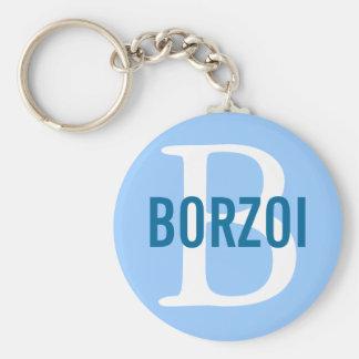 Diseño del monograma de la raza del Borzoi Llavero Redondo Tipo Pin