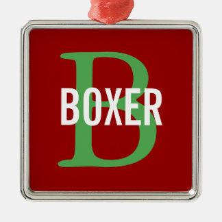 Diseño del monograma de la raza del boxeador adorno navideño cuadrado de metal