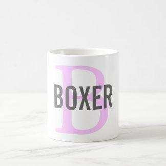 Diseño del monograma de la raza del boxeador taza clásica