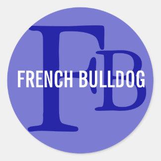 Diseño del monograma de la raza del dogo francés pegatina redonda