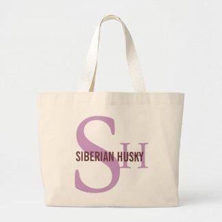Diseño del monograma de la raza del husky siberian bolsa lienzo