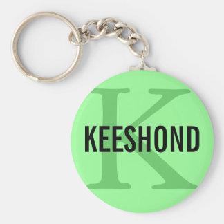 Diseño del monograma de la raza del Keeshond Llavero Redondo Tipo Pin