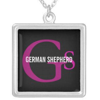 Diseño del monograma de la raza del pastor alemán colgante cuadrado