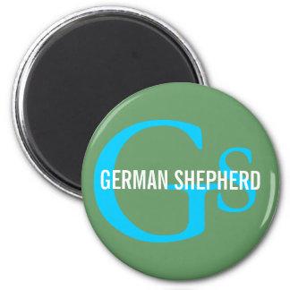 Diseño del monograma de la raza del pastor alemán imán redondo 5 cm