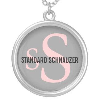 Diseño del monograma de la raza del Schnauzer está Colgante Redondo