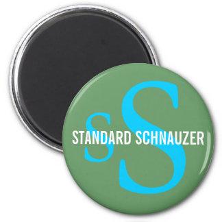 Diseño del monograma de la raza del Schnauzer está Imán Redondo 5 Cm