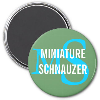 Diseño del monograma de la raza del Schnauzer mini Imán Redondo 7 Cm