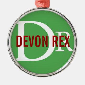 Diseño del monograma del gato de Devon Rex Ornamento De Navidad