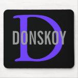 Diseño del monograma del gato de Donskoy Tapetes De Ratones
