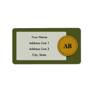 Diseño del monograma del verde caqui etiqueta de dirección