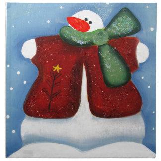 Diseño del muñeco de nieve del invierno de las servilletas imprimidas