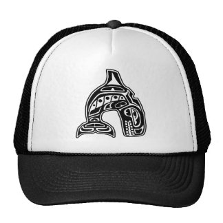 Diseño del nativo americano de la orca gorras de camionero