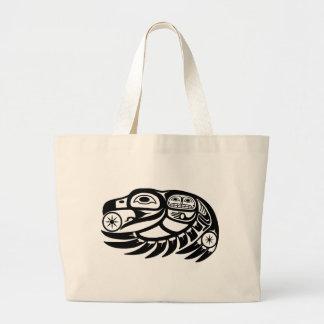 Diseño del nativo americano del cuervo bolsa tela grande