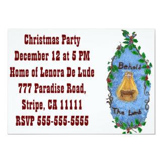 """Diseño del navidad de Jesús del bebé del acebo del Invitación 5"""" X 7"""""""