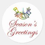 Diseño del navidad de la paloma de los saludos de pegatina redonda