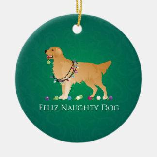 Diseño del navidad del golden retriever adorno navideño redondo de cerámica