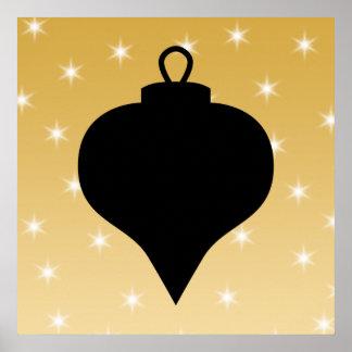 Diseño del navidad del negro y del color oro poster