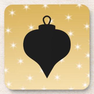 Diseño del navidad del negro y del color oro posavasos de bebida