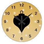 Diseño del navidad del negro y del color oro reloj de pared