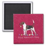 Diseño del navidad del perro del corredor de cross imán cuadrado