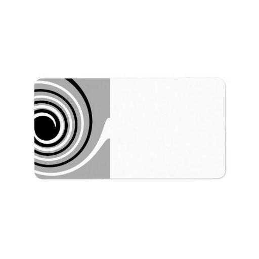 Diseño del negro, blanco y gris de la torsión etiquetas de dirección