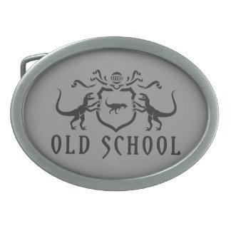 Diseño del negro de la escuela vieja hebilla cinturon oval