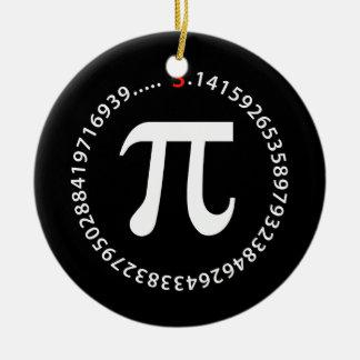 Diseño del número del pi adorno navideño redondo de cerámica