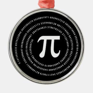 Diseño del número del pi adorno navideño redondo de metal