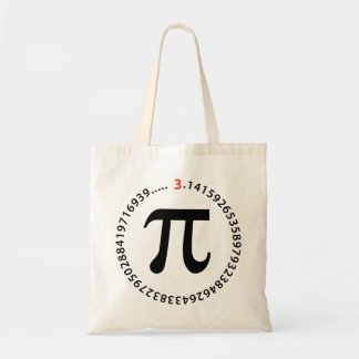 Diseño del número del pi bolsa de mano