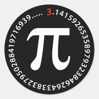 Diseño del número del pi etiqueta redonda