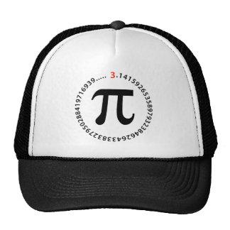 Diseño del número del pi gorras