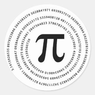 Diseño del número del pi pegatina redonda