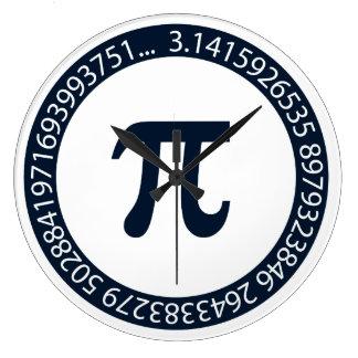 Diseño del número del pi reloj redondo grande