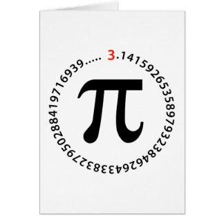 Diseño del número del pi tarjeton