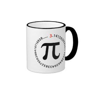 Diseño del número del pi taza